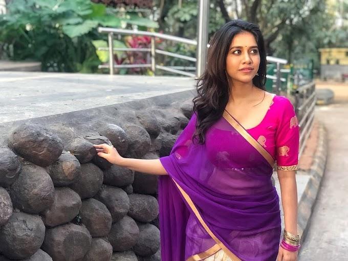 Nabha Natesh Hot Stills In Half Saree