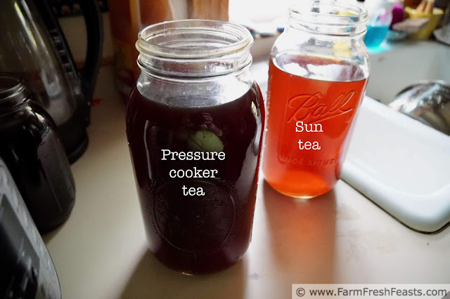 photo comparing the look of chai tea steeped in the sun vs chai tea prepared in the pressure cooker