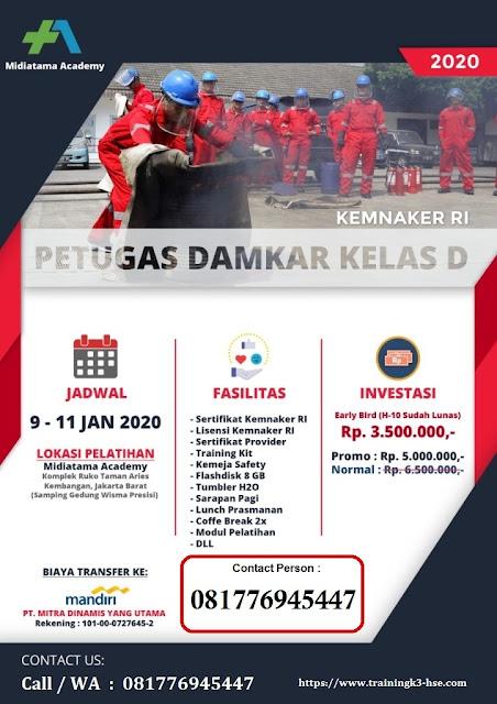Training Damkar Klas D murah tgl. 9-11 Januari 2020 di Jakarta