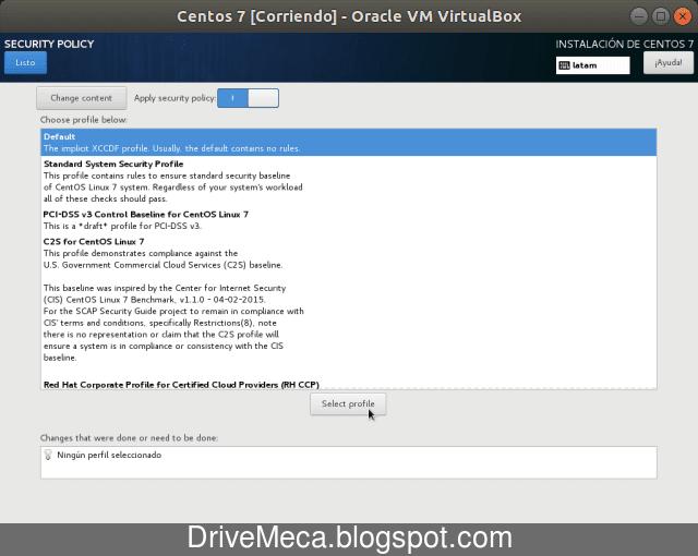 Seleccionamos y activamos un perfil de seguridad para Linux Centos