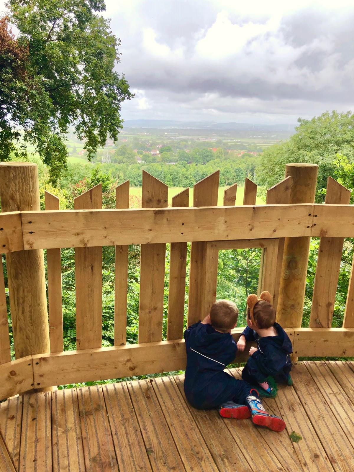 two children in puddle suits admiring the view from a treetop platform at wild place project