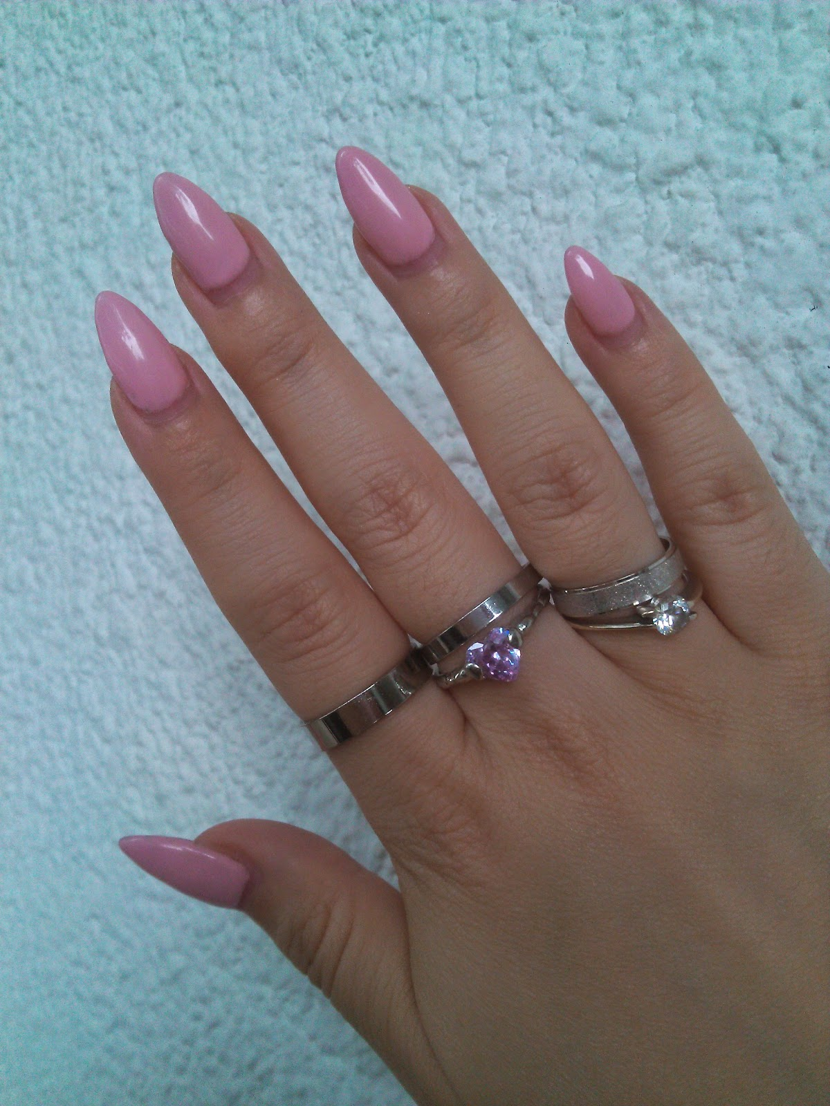 pale pink baby pink stiletto nails