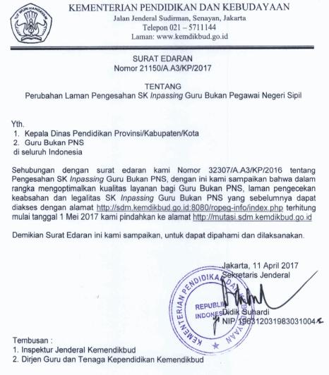 Cara Cek SK Inpassing Guru Non PNS Terbaru 2018