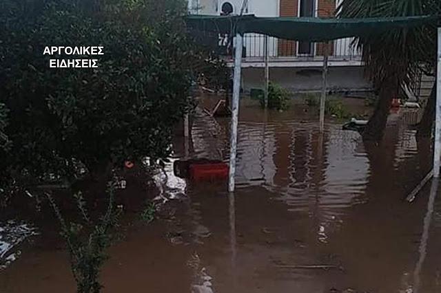 """Αργολίδα: Ίρια και Κάντια χτύπησε ο """"Γηρυόνης"""" - Κλειστός ο δρόμος προς Καρναζέικα - Λίμνη οι καλλιέργειες"""
