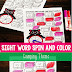 Camping Sight Words Spin and Color Game
