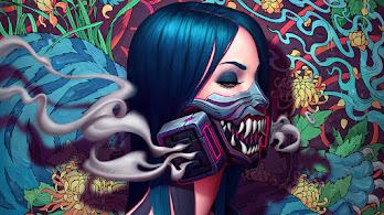 Cyberpunk, Girl, Gas Mask, Smoke, Artistic, 4K, #6.2583