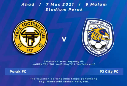 Live Streaming Perak vs PJ City Liga Super 7.3.2021