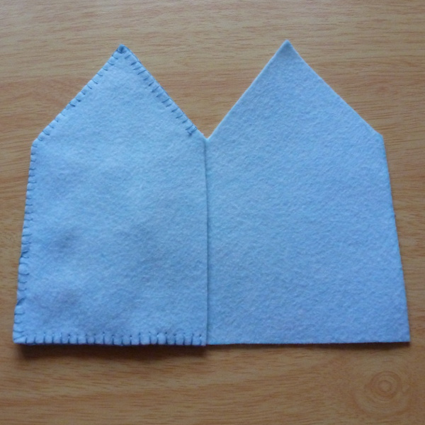 Covering the back of stitching with blue felt
