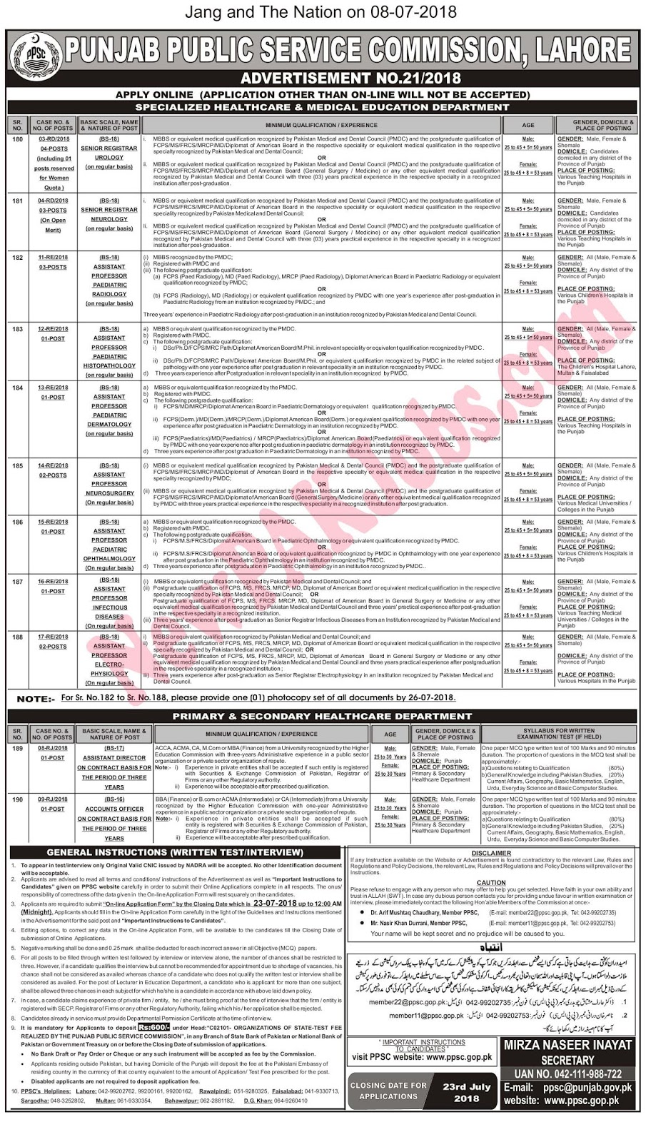 PPSC Jobs July 2018 Advertisement No. 21/ 2018