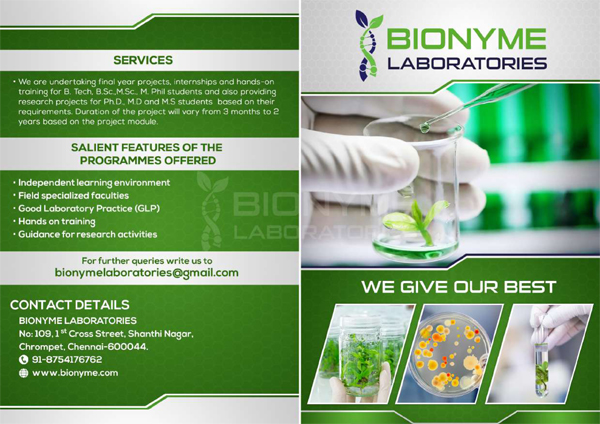 Bionyme Labs Chennai Offering Training and Projects for Life Science Students