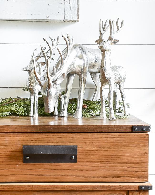 Galvanized silver reindeer