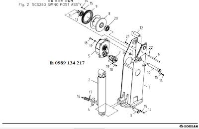 Trụ quay, xy lanh nâng cần và tời chính của cẩu Soosan 2 tấn SCS263