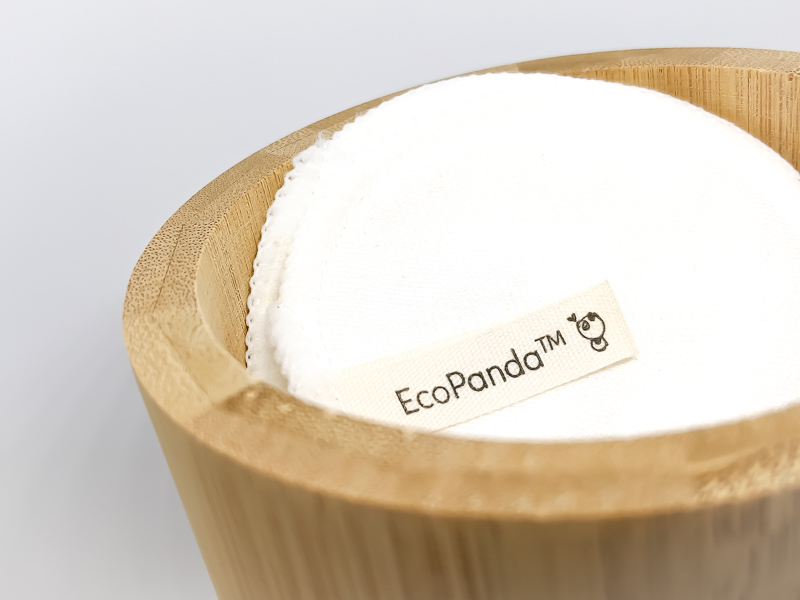 EcoPanda Reusable Bamboo Cotton Pads in bamboo jar