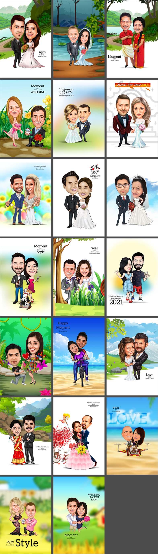 Digital Couple Caricatures PSD Templates
