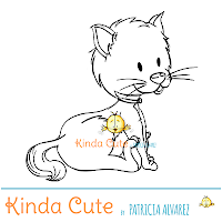 Little cat digital stamp