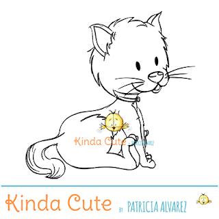 Little cat digital stamp