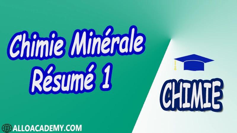 Chimie Minérale - Résumé 1 pdf