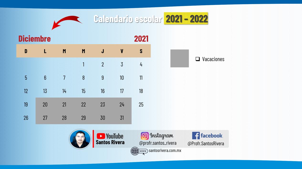 calendario escolar del mes de diciembre 2021 - 2022