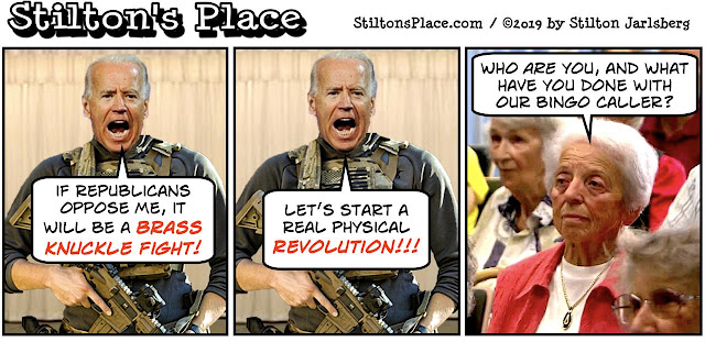 stilton's place, stilton, political, humor, conservative, cartoons, jokes, hope n' change, biden, brass knuckles, revolution, shotgun