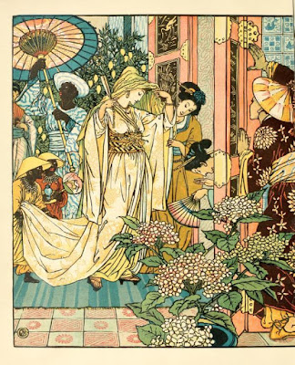Aladdin sees the princess for the first time  by Walter Crane in 1890