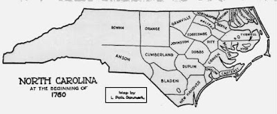Map of North Carolina Counties in 1760