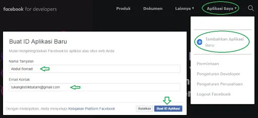 Facebook Developers: Cara Membuat ID Aplikasi