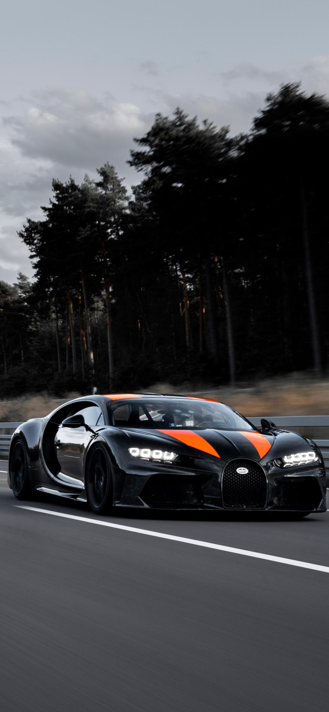 Bugatti Chiron black car mobile wallpaper