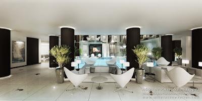 Perspective 3d hall lobby hôtel de luxe Saint-Tropez