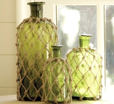 rope net bottle decor ideas and tutorials