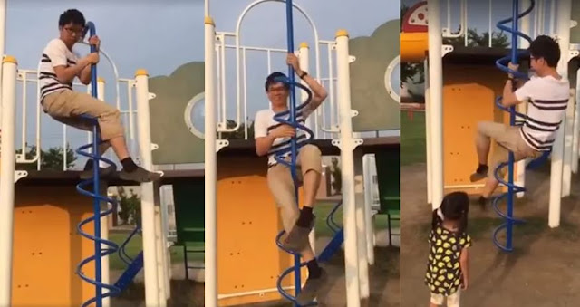 Seorang Pria Menunjukkan Cara Bermain 'Corkscrew Climber' kepada Anaknya dan Membuat Netizen Terkejut