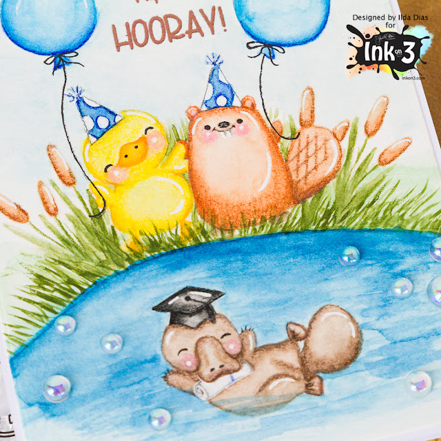 Hip Hip Hooray Graduation Card - Using No Line Coloring Technique by ilovedoingallthingscrafty