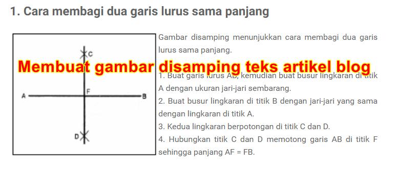 CARA MEMBUAT POSISI GAMBAR DISAMPING TEKS HTML BLOGSPOT