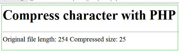 Compress data using php function