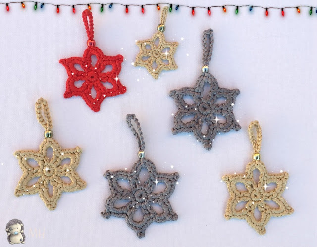 Estrellas navideñas a crochet