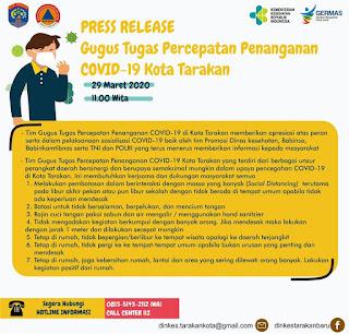 Press Release COVID-19 Tarakan 29 Maret 2020 - Tarakan Info