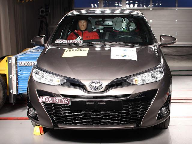 Toyota Yaris ganha 4 estrelas para adultos e 4 para crianças - Latin NCAP