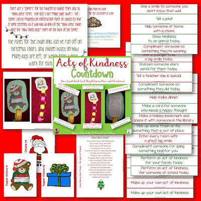 Acts of Kindness Countdown:Here is a freebie and directions on making a different kind of countdown for the holidays!