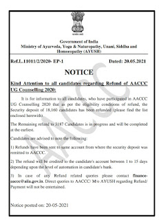 Kind Attention to all candidates regarding Refund of AACCC UG Counselling 2020: