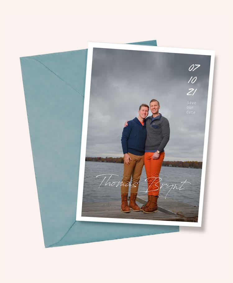 LGBTQ Wedding Announcement Cards and Family Portraits by SudeepStudio.com Ann Arbor Gay Wedding Photographer