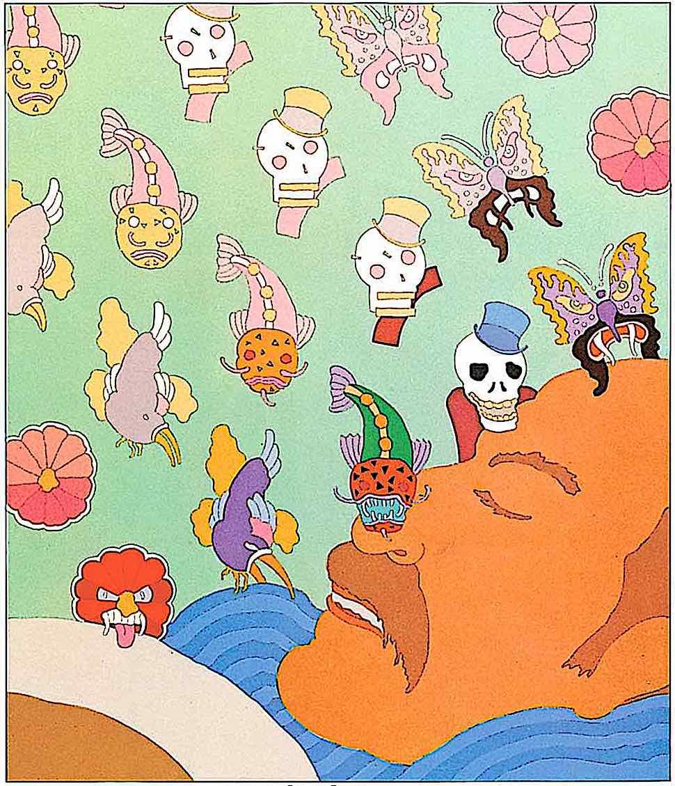 a Seymour Chwast sleeping dreaming man