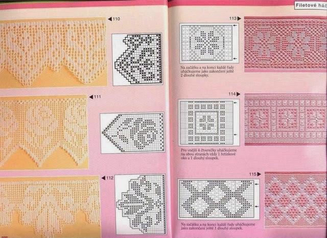 Patrones de puntillas y almohadones en crochet filet