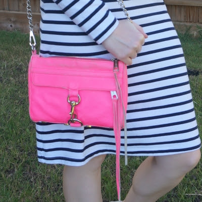 navy white striped tee dress  Rebecca Minkoff neon pink mini MAC | away from the blue