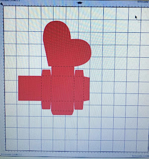 Valentine Box cutout from SVG file on cutting mat