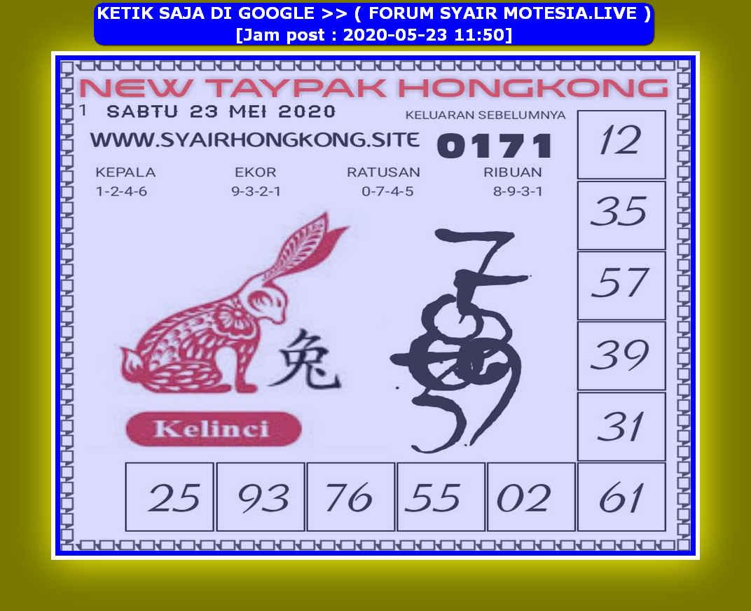 Kode syair Hongkong Sabtu 23 Mei 2020 86