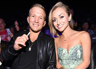 Tj Dillashaws Wife Rebecca Dillashaw With Her Husband At An Event
