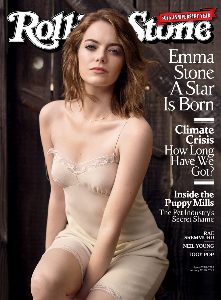 Emma Stone wears nude slip dress for Rolling Stone cover