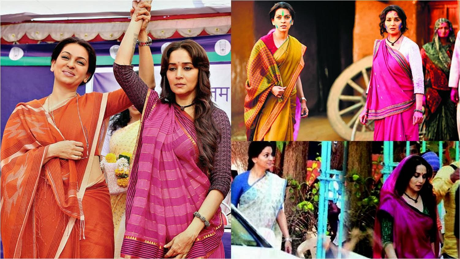 Juhi Chawla and Madhuri Dixit in Gulaab Gang movie stills