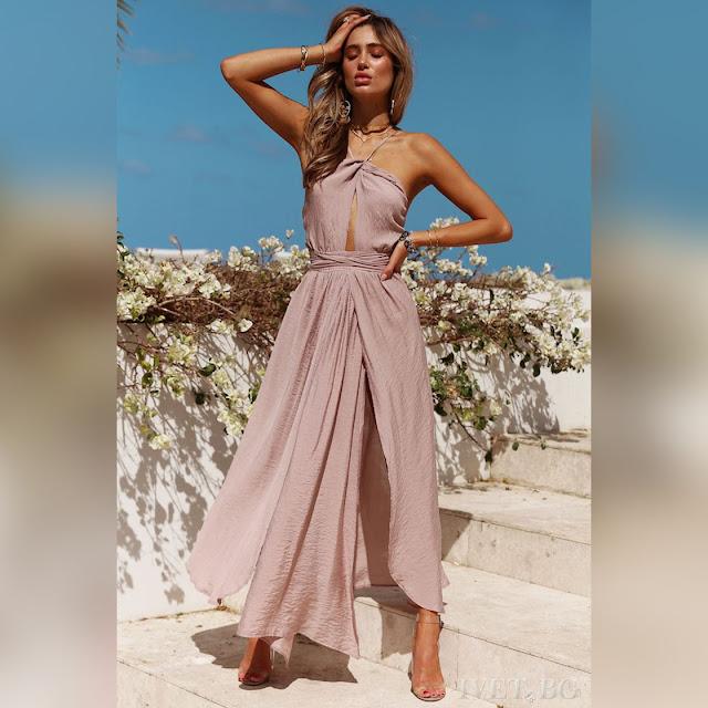 Αμάνικο ανοιχτό ροζ φόρεμα DORITA PUDRA