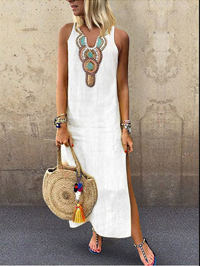 V Neck Slit Printed Sleeveless Maxi Dresses