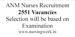 ANM Nurse Jobs--2551 Vacancies